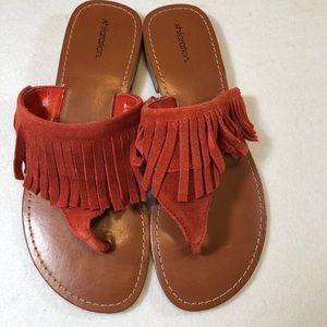 Exhilaration Orange Leather Suede Sandals size 8